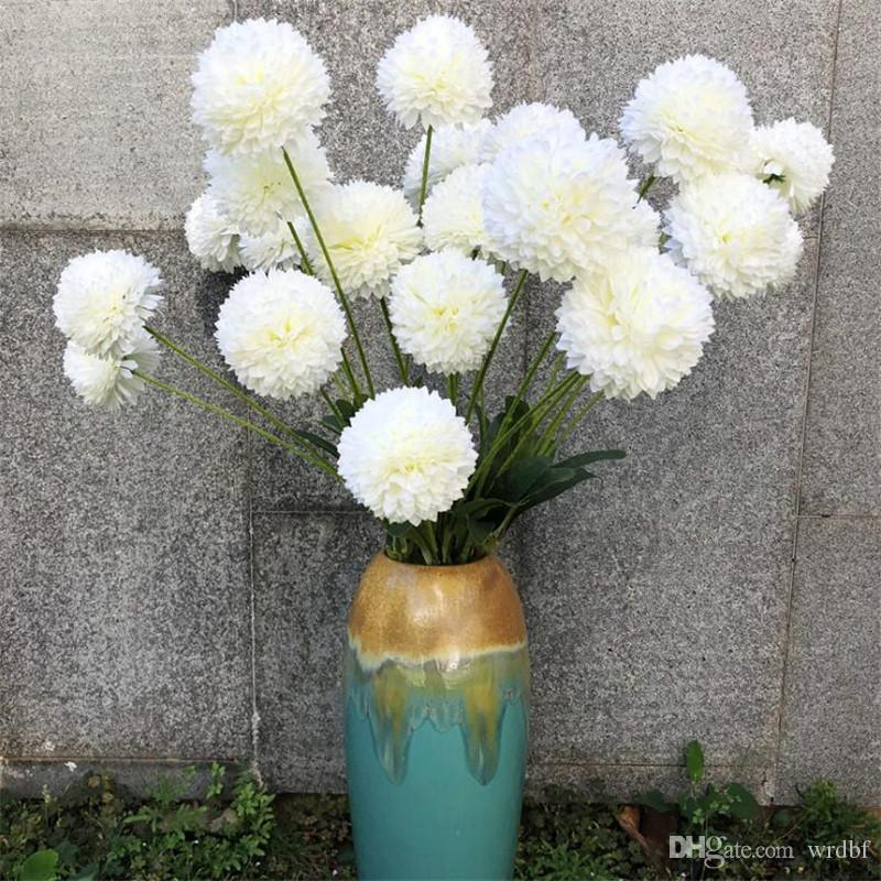 Поддельные длинный стебель Болоцефал (5 голов/шт) моделирование Хризантема мяч для свадьбы главная витрина декоративные искусственные цветы