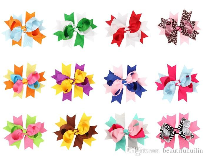 12Pcs 12CM Children Colorful Ribbon Twisted Bows Hairpin Baby Girls Handmade Boutique Bowknot Hair Clip Hair Bow Beautiful HuiLin DW118