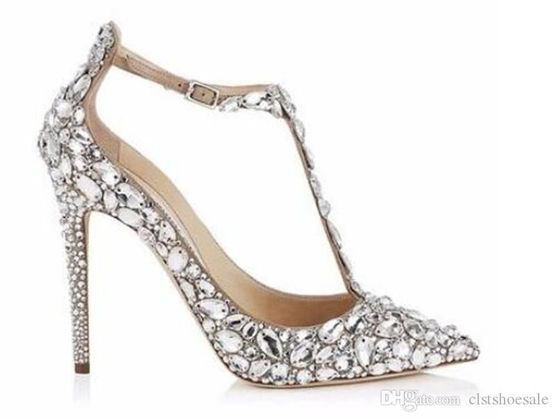 Novas Mulheres Da Moda Apontou Toe Preto Nudei Strass Bombas Tira No Tornozelo Cristais Contas de Salto Alto Sapatos de Casamento Sapatos de Vestido