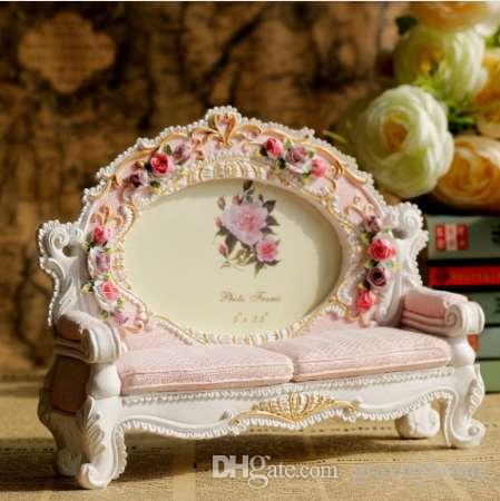 Europe Retro Vintage Pink Flower Sofa Photo Frame Picture Resin 3.5'' x 5'' Home Wedding Decoration Gifts NEW