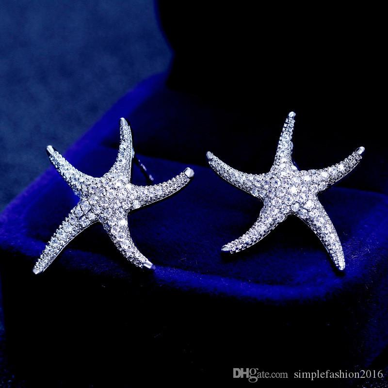 Starfish Style Earring White Gold Filled 5A clear Diamond Cz Engagement wedding Stud Earrings for women festival Gift