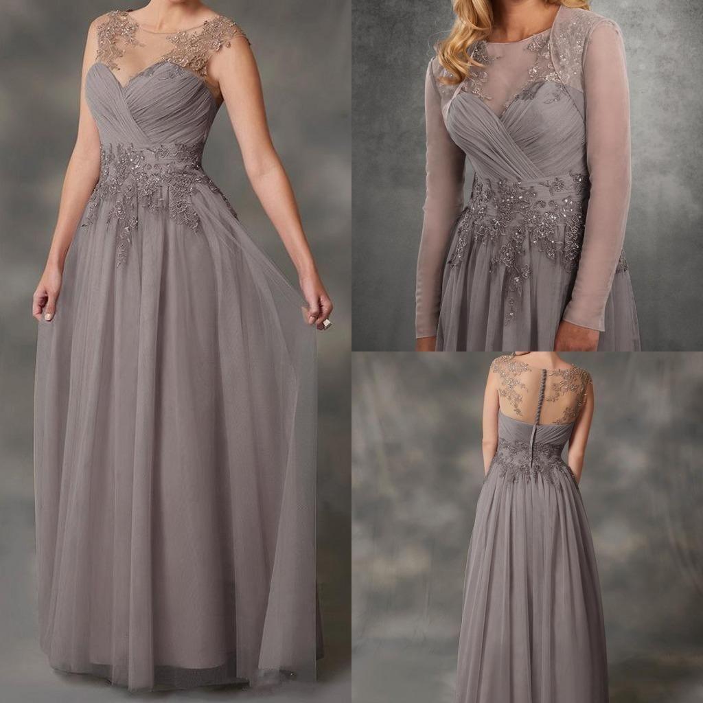 Simple 2019 A-Line Chiffon Mother of the Bride Dresses with Jacket Applique Lace Dresses Evening Wear Cheap Guest Dresses