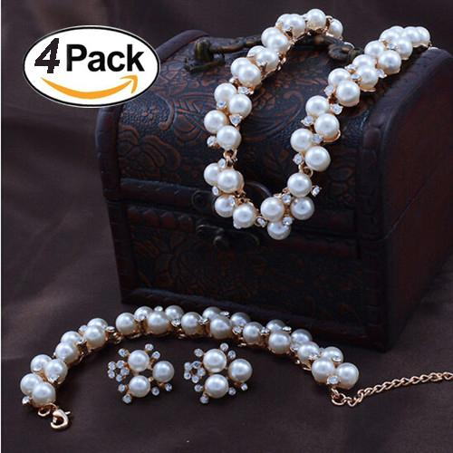 European and American fashion high-grade imitation pearl plated gold pearl necklace earnail bracelet suit
