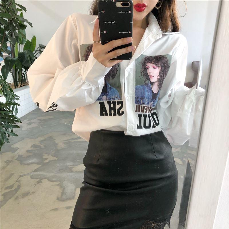 여성 블라우스 2018 새로운 빈티지 BF 스타일 화이트 인쇄 편지 랜턴 슬리브 블라우스 Ladies Office Shirts Long Sleeve Women 's Tops
