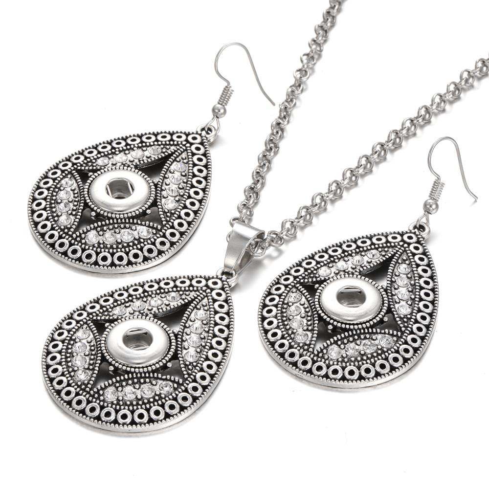 New 12mm Snap Button Jewelry Set Mini 12mm Snap Pendant Necklace & 12mm Snap Button Earrings for Women Girls Summer Jewelry