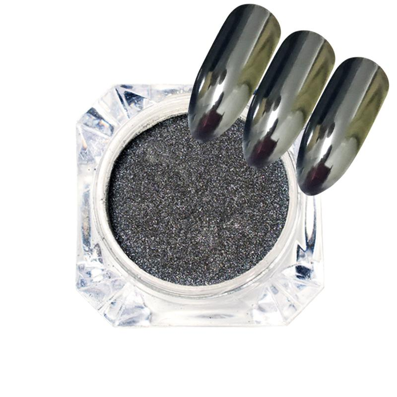 1 bouteille Black Mirror Effect Nail Paillettes poussière Chrome pigment brillant Manucure Nail Art Décoration Flakes Paillette SAXH600