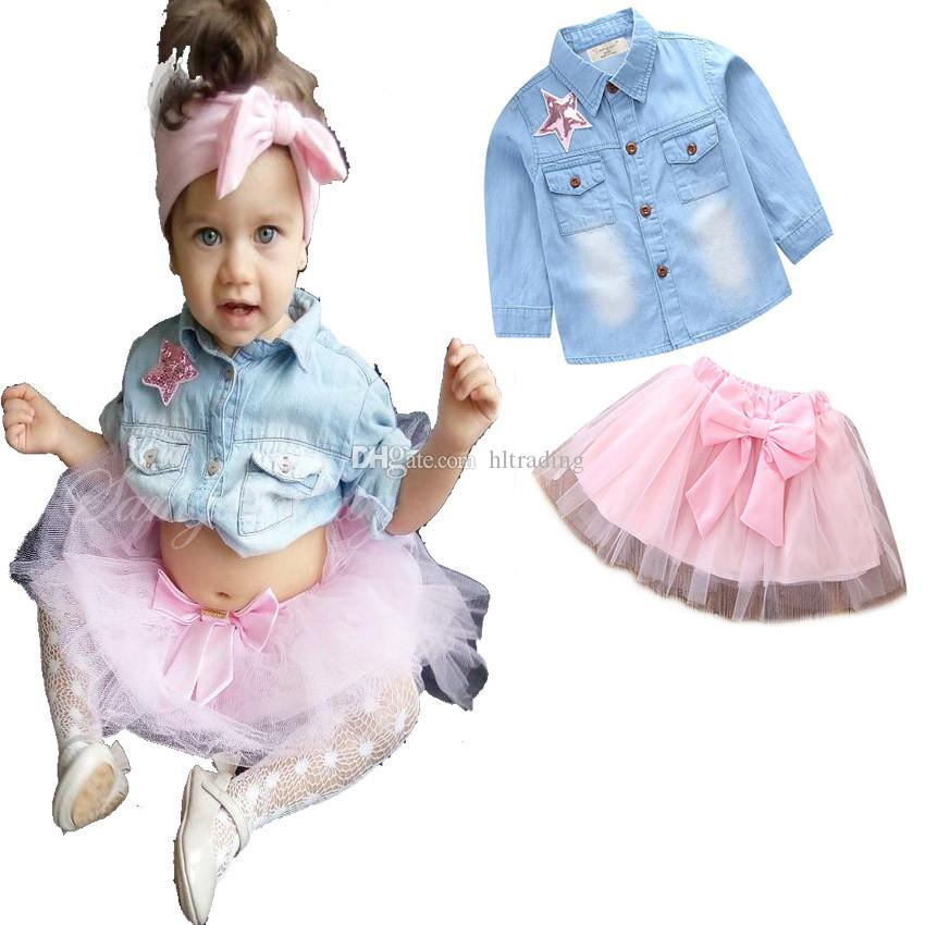 Baby Sequin five-pointed star outfits INS girls Denim shirt+TuTu bow skirts 2pcs/set kids Clothing Sets C3526