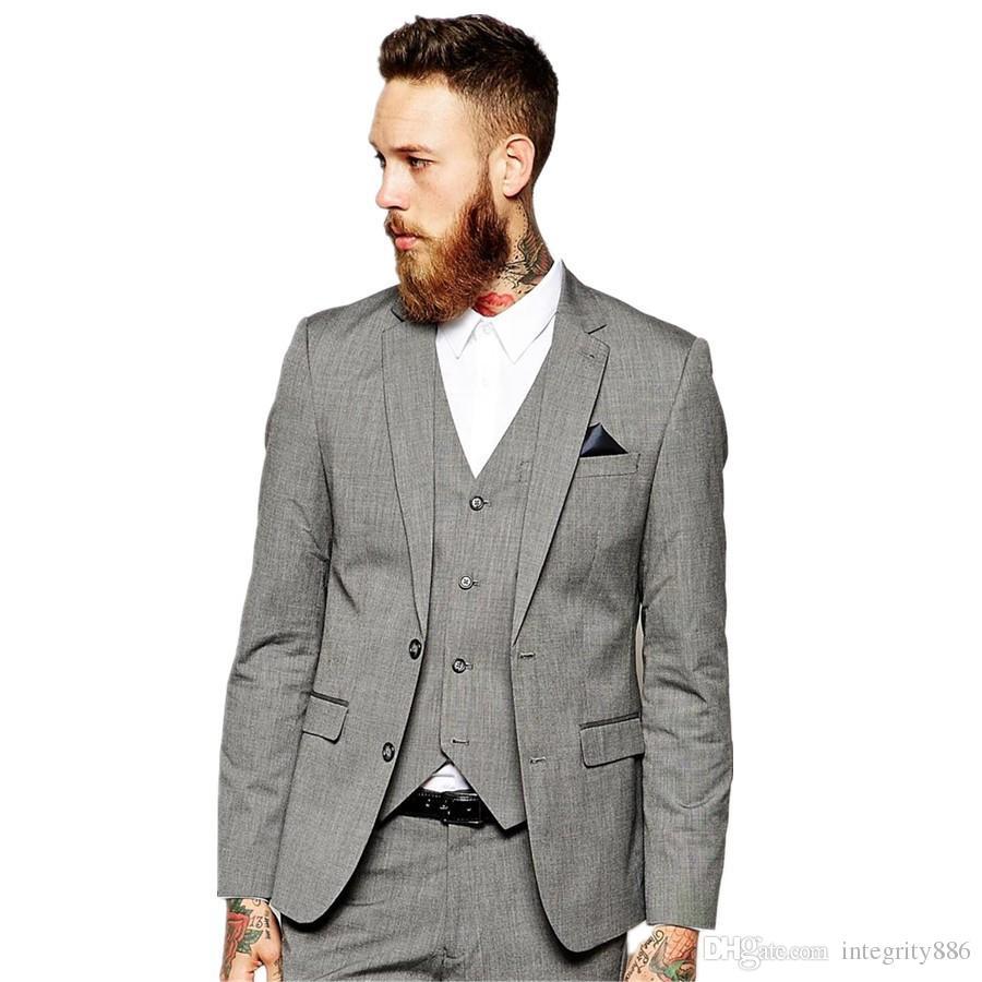 Vente chaude Lumière Gris Groom Tuxedos Haute Qualité Homme De Mariage Costume Deux Bouton Centre Vent Hommes Dîner Prom Blazer (Veste + Pantalon + Cravate + Gilet) 217
