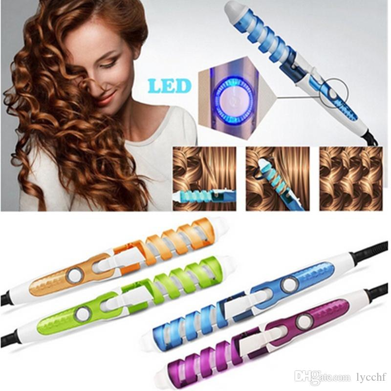 Fashion Hairstyle DIY EU/US Plug Hair Styling Curl Style Spiral Curl Tools Ceramic Spiral Rollers