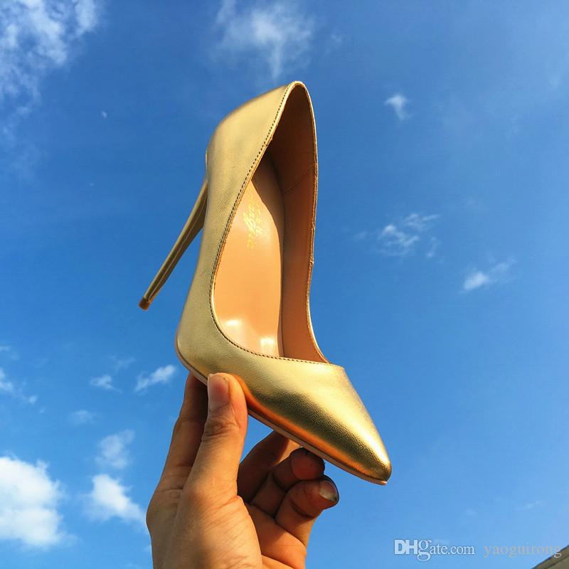 Europa y América, nuevo cuero dorado de oveja puntiagudo, zapatos de tacón alto, moda, zapato único y atractivo 33-45 yardas