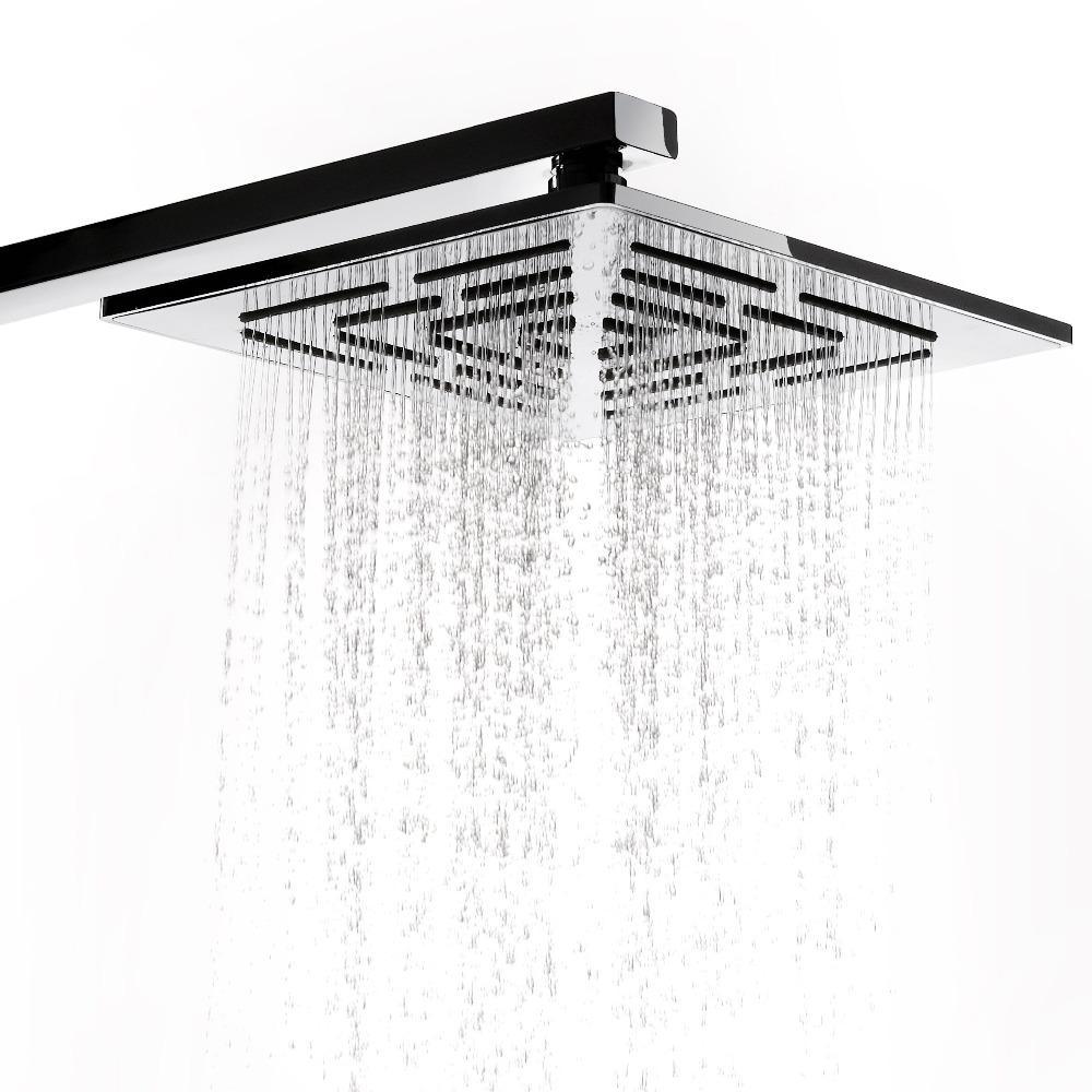 8 인치 크롬 마감 평방 비 샤워 헤드 248 구멍 물 빼기 스테인레스 강 비 샤워 헤드 (샤워 암 제외)