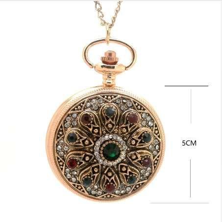 (1147) الذهب الملكي القصر البوهيمي الحب القلب الأحمر الجيب الساعات سترة خمر التركية الجيب ووتش قلادة قلادة