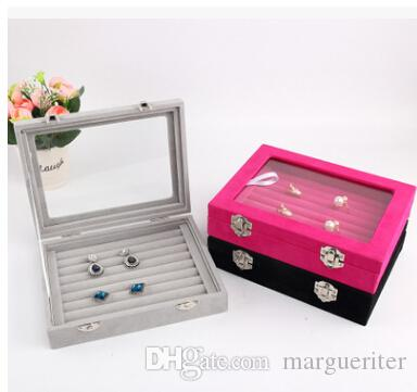 Velvet Jewelry Storage Box With Glass Window 24 Grid 8 Booths Earring Display Organizer Ring Case