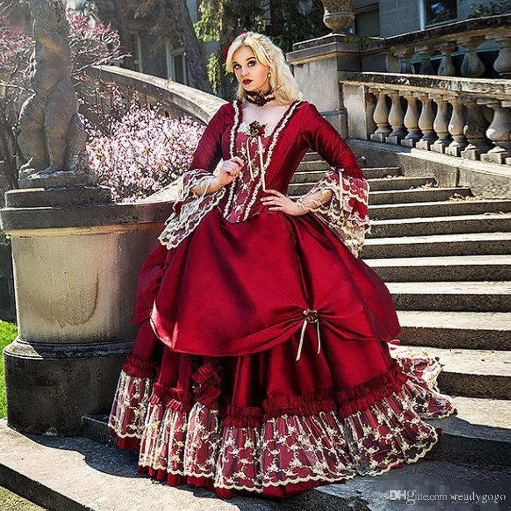 Vintage Burgundy lace Evening Quinceanera Dresses Square Neck Long Sleeve Floor Length lace-up corset gothic Masquerade Prom Dresses