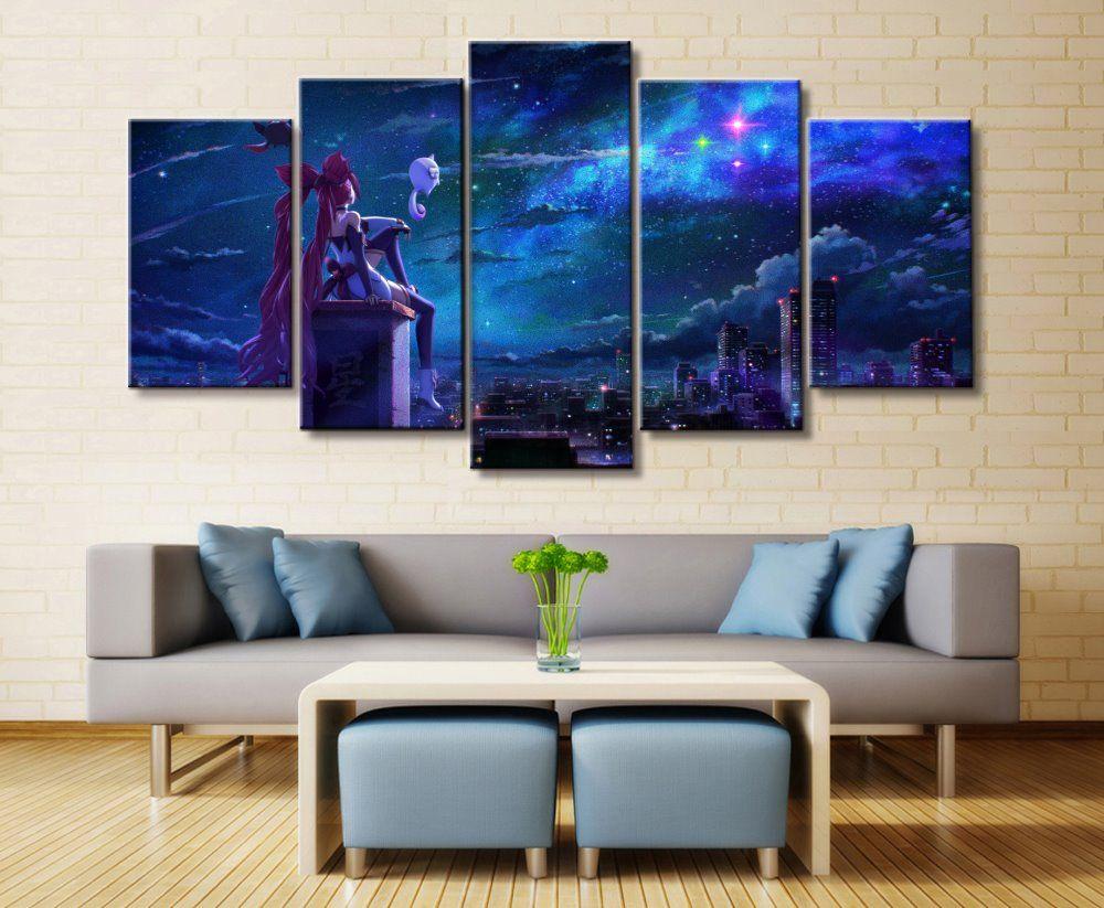 5 Panel Efsaneler Efsanesi Jinx Oyunu Oturma Odası Için Tuval Baskılı Boyama Sanat Ev Dekor HD Resim Yapıt Modern Poster