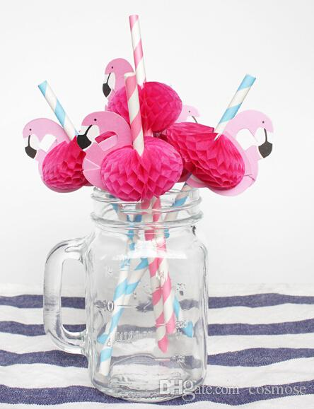 Hawaii Flamingo Shape Paper Straws 3D Straw Bendy Flexible paper Drinking Straws Party Favors Birthday/Wedding/Pool Party Decor Flamingo