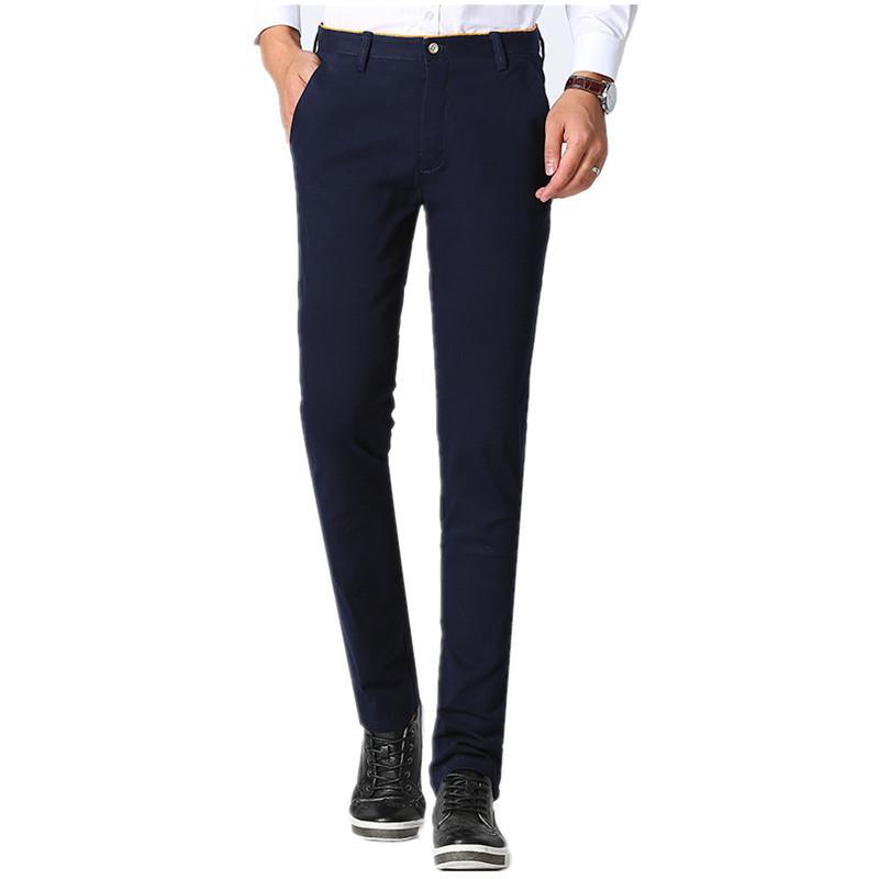 Espesor Regular Otoño Pantalones Casuales Hombres Versión Coreana Modelo Sólido Simple Pantalones Largos Pantalones Masculinos Más Tamaño No Arrugado