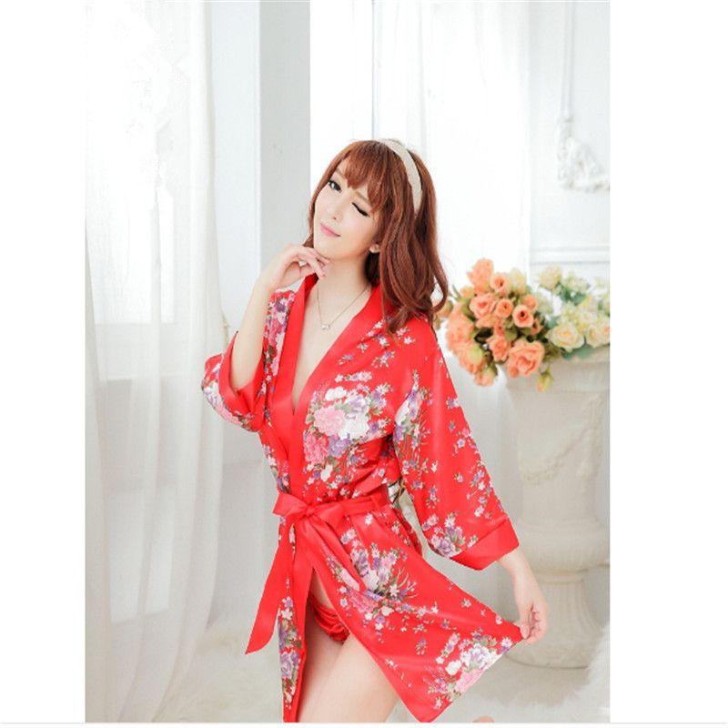 جنسي الملابس الداخلية زي لعبة كبيرة الحجم المطبوعة كيمونو ثوب النوم حبال موحدة إغراء زوجين جديدة يمزح الجنس لعب الكبار