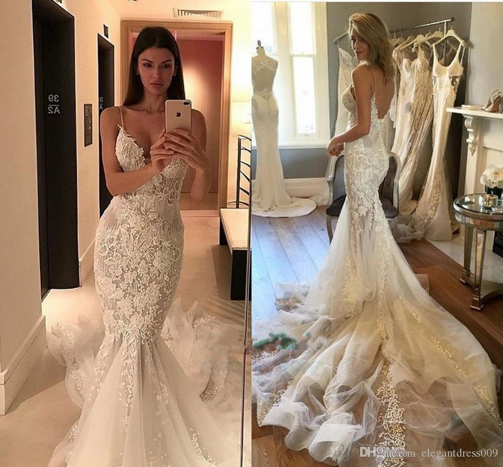Perlas apliques de encaje vestidos de novia de sirena correas espaguetis tribunal tren de lujo botón de novia de la boda vestido de novia Vestidos de novia