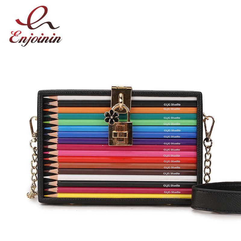 Neuer Ankunfts-Farben-Bleistift-Design Kasten-Art-PU-Dame-Partei-Handtasche-Ketten-Geldbeutel-Handtasche für Frauen Umhängetasche Mini Messeng Bag