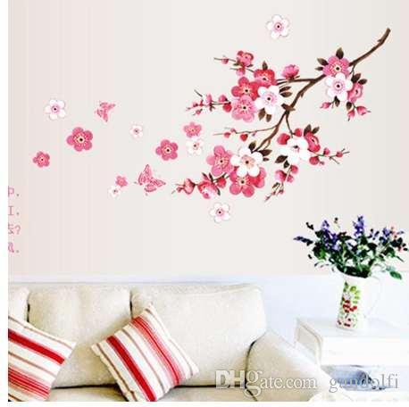 جميلة الإبداعية الفن زهر الخوخ زهرة فراشة ملصقات الحائط الفينيل الفن الشارات ديكور جدارية المنزل الديكور # 5