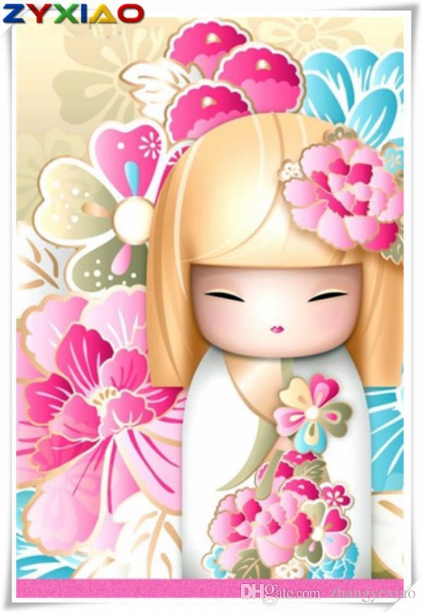 Bricolaje pintura diamante kit de punto de cruz mosaico decoración del hogar regalo gente sakura niña ronda redonda diamante cuadrado 5D bordado juguete sabiduría AA0790