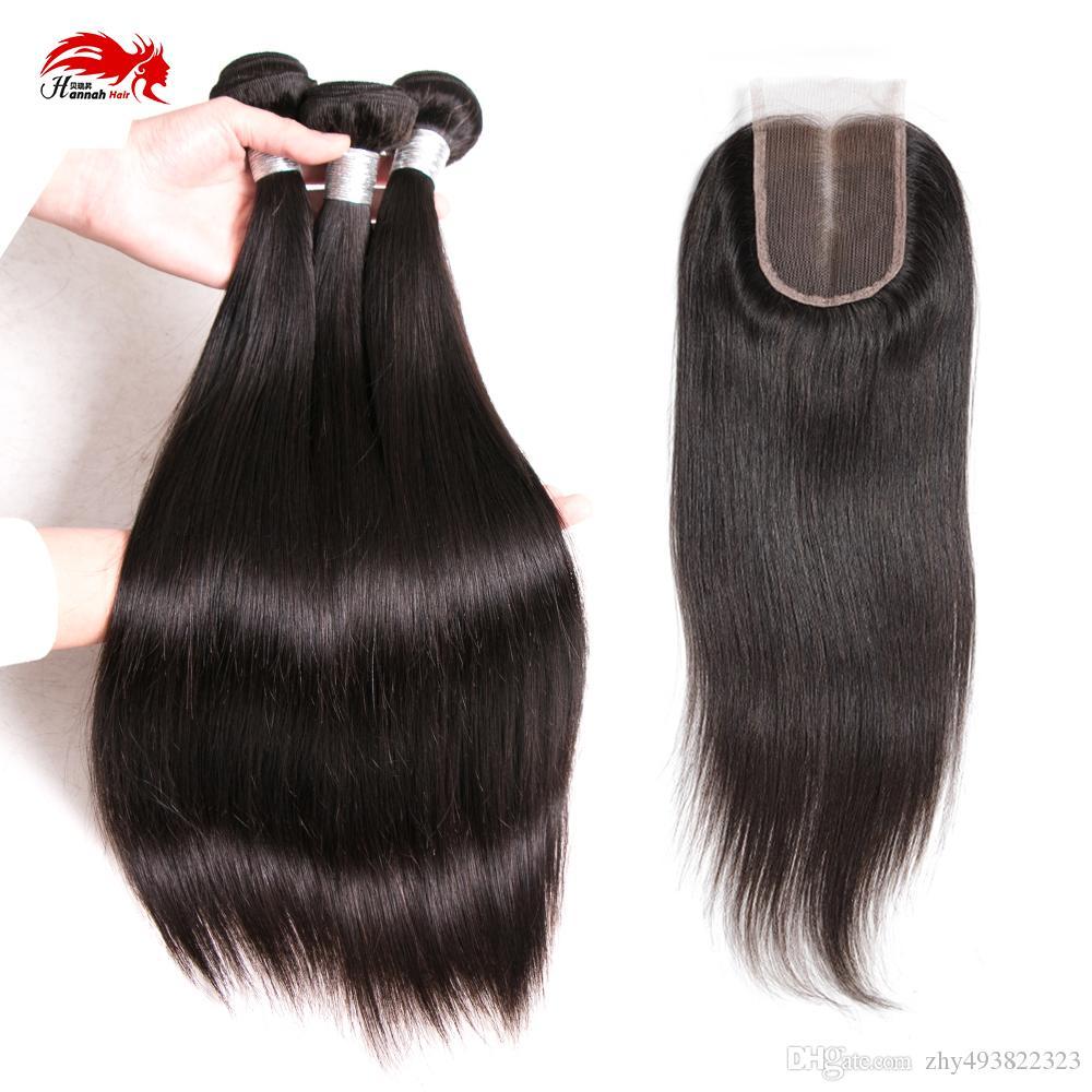 Hannah produit Vente Chaude 4 Pcs / LOT 1 Pièce Fermeture Avec Bundles de Cheveux 3 Pcs Trame de Cheveux Vierges Humains Avec Fermeture Pour Full Head Droite