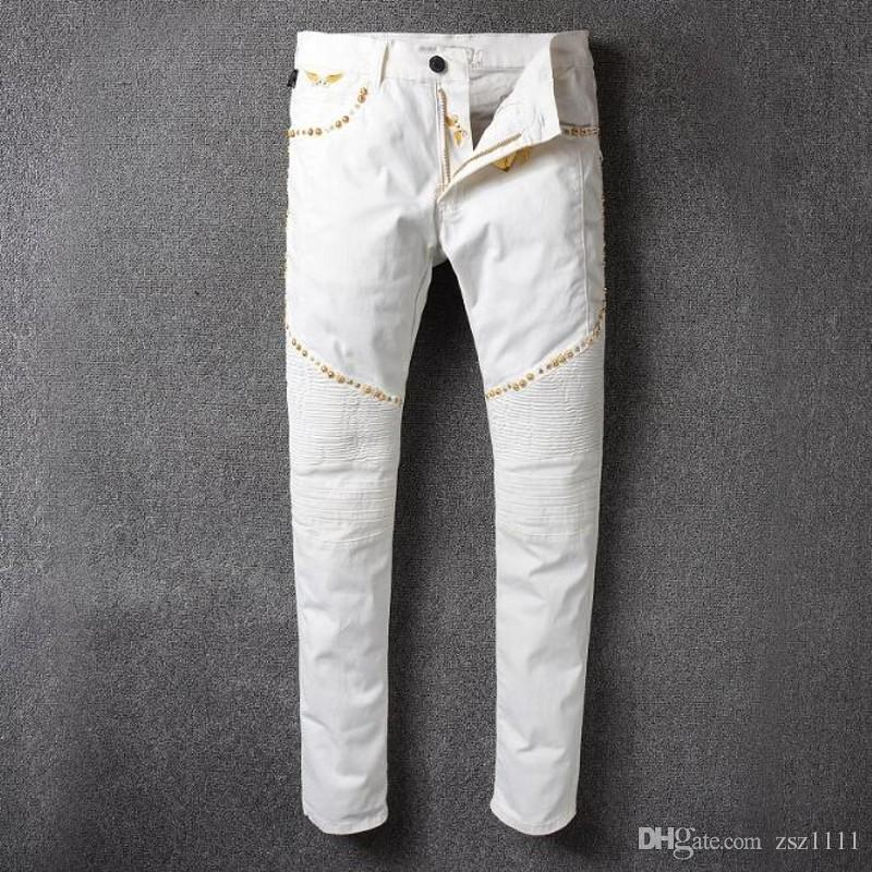 2020 Mens Clothing Fashion Senior Designer Brand Bicycle Robin Jeans Manual Paste Crystal Golden Wings White Robin Slim Jeans From Zsz1111 56 53 Dhgate Com