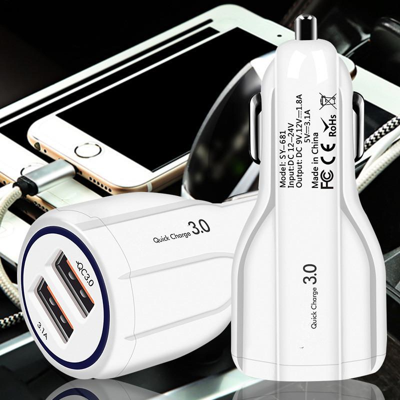 36W Dual USB Quick Charge QC 3.0 Car Charger For iPhone USB Fast Charger Mobile Phone Quick Chargering Car-Charger