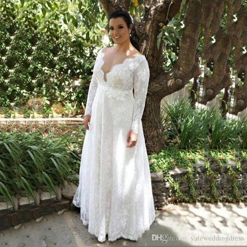 Discount White Lace Plus Size Wedding Dresses Plunging Long Sleeves Bridal  Gowns Back Zipper Floor Length Custom Made Wedding Dresses Simple Modified  ...
