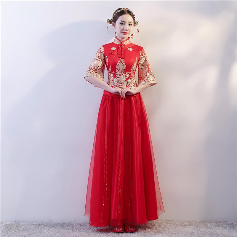TS3019 Traditional Women Chinese Red Wedding Dress Long Qipao Modern Satin Cheongsam evening dress for woman Style Dresses Decisiontree