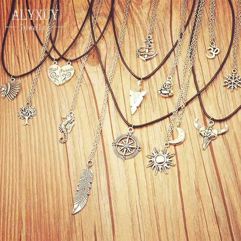 جديد الأزياء والمجوهرات العتيقة اللون الفضي القمر أحد مزيج تصميم قلادة قلادة (تشمل سلسلة ربط) هدية للمرأة فتاة N1734