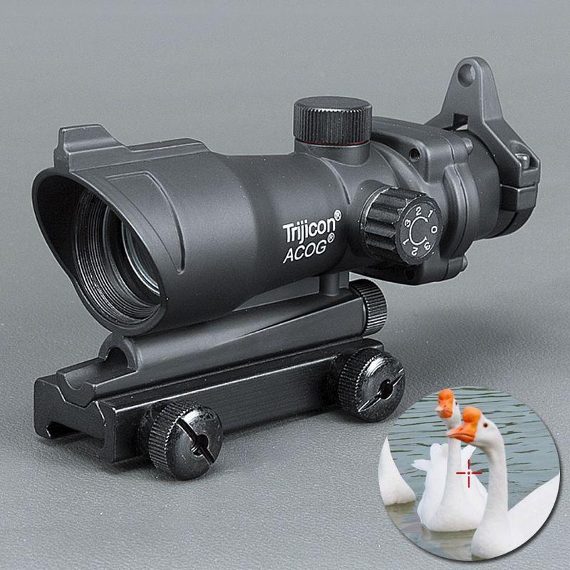 Trijicon ACOG 1X32 تلسكوبي البصر الأحمر / الأخضر البصر بالليزر نقطة 20MM يتصاعد نطاق البصر للصيد