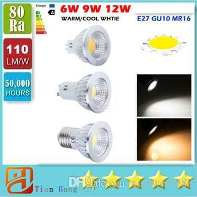Bitianteam COB GU10 E27 E26 E14 MR16 Regulable Led 9W 12W 15W Spot Bombillas Luz CRI85 Luces LED de alta potencia Lámpara AC 110-240V