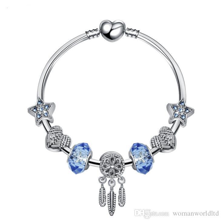 925 cristal d'argent Diamants bleu Bracelet femme Fits bijoux européens Pandor Charm Bracelets Livraison gratuite
