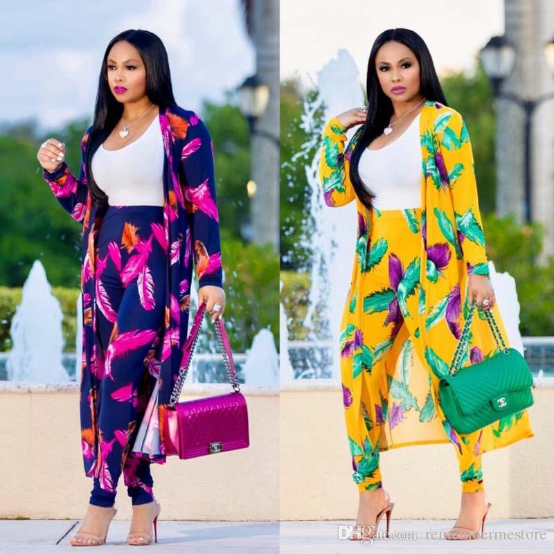 Feathers Print Two Piece Set Women Long Coat and Pants Set Autumn Full Sleeve Top Pencil Trousers 2 Piece Outfits Set