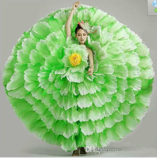 무료 배송 레이디스 여자 노란색 / 핑크 / 빨강 / 파랑 / 녹색 전체 꽃잎 꽃 큰 플레어 댄스 드레스 / 무대 성능 / 카니발 공 드레스