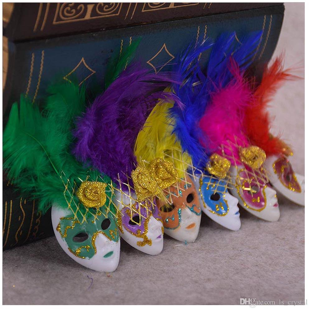 Popular Mini Venice Feather Mask Fridge Magnet Italy Souvenirs Ornament Home Decor Gift Package 6 Colors 12pcs/lot DEC252