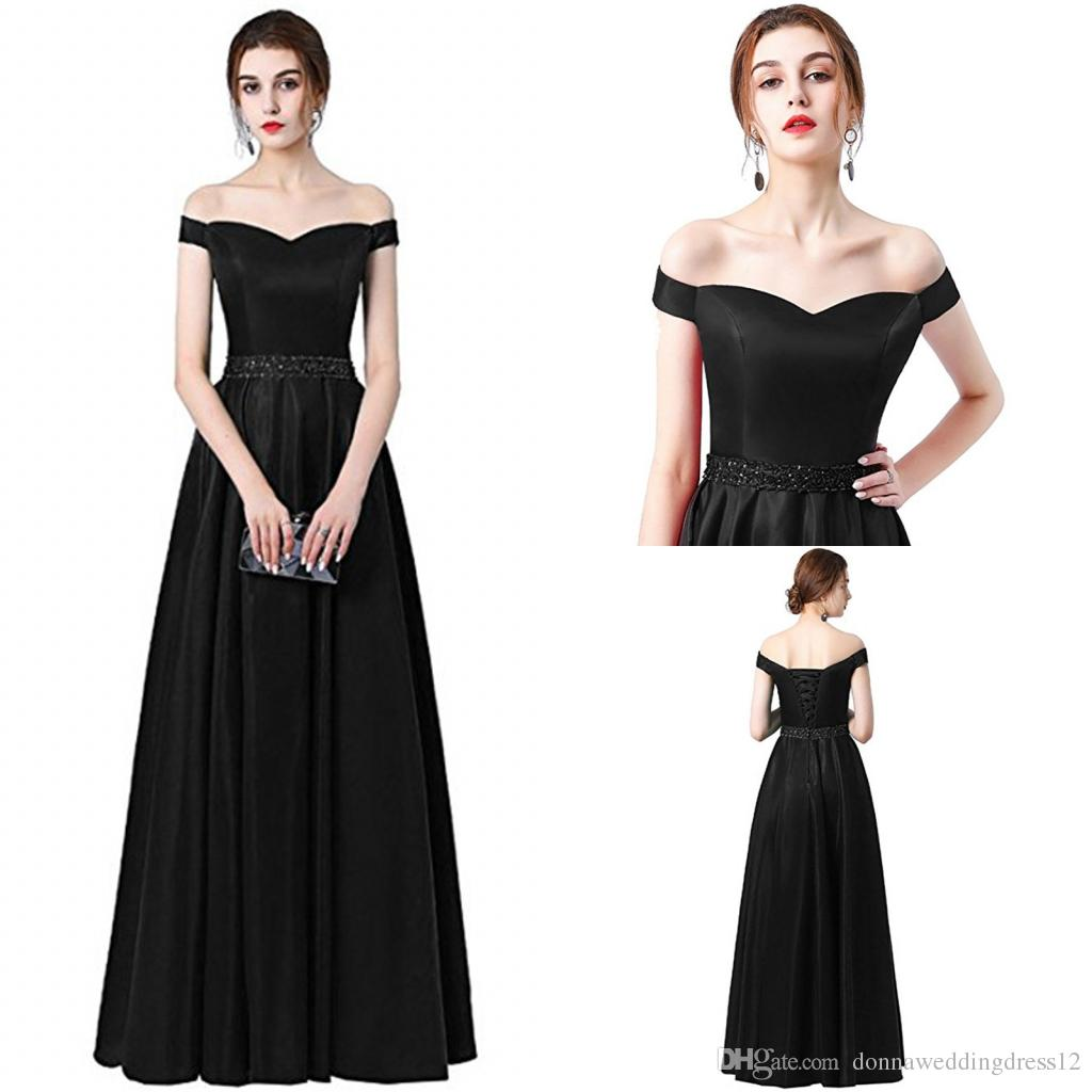 Vestido De Festa a-line длинное вечернее платье 2018 Vintage Off the Shoulder Prom Dresses Crystal Belt Robe De Soiree