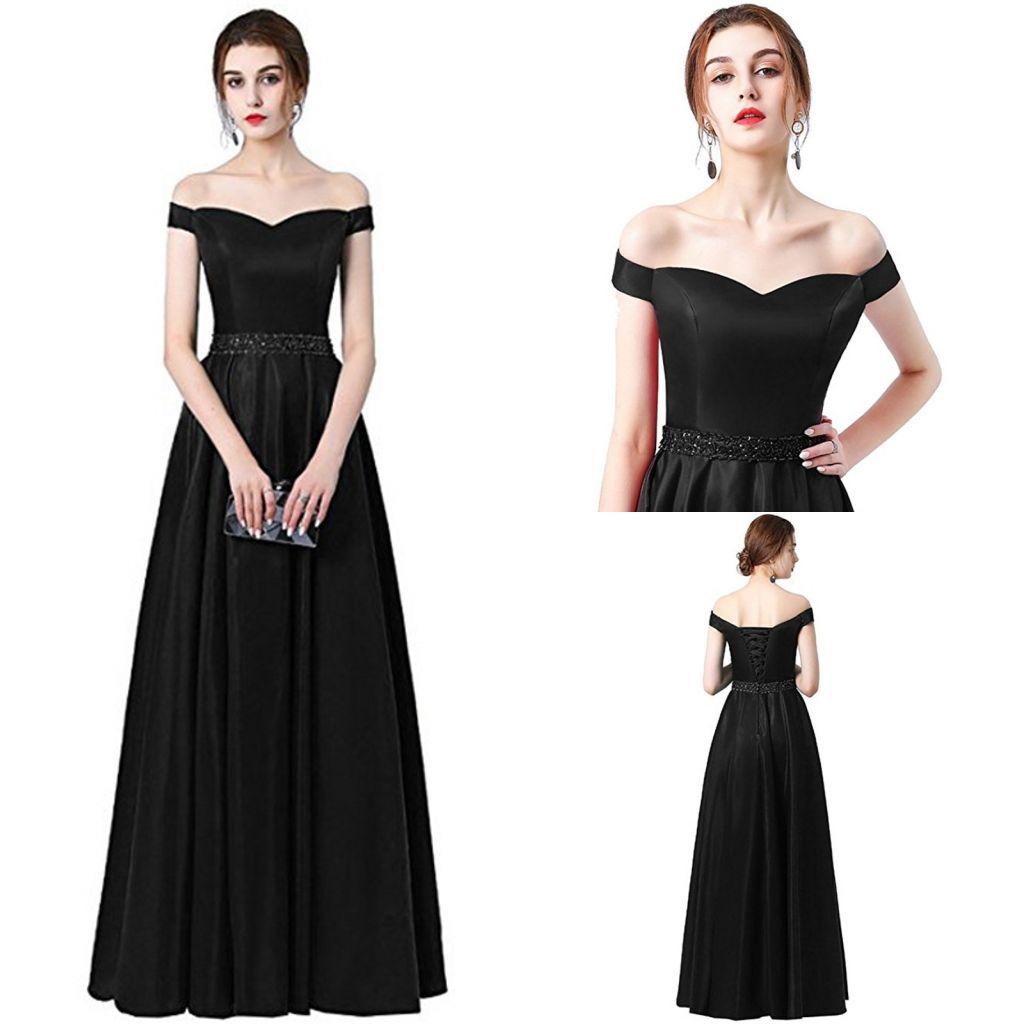 Vestido De Festa A-line Abito da sera lungo 2018 Vintage Off The Shoulder Prom Dresses Cintura di cristallo Robe De Soiree