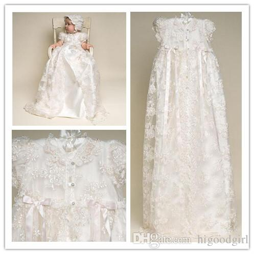 2019 Newest Princess Cute A Line Long High Neck Short Sleeves lace White Or Ivory First Communion Dresses With Beads