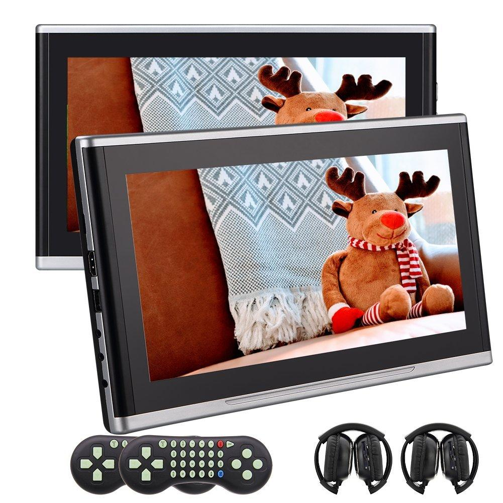 "EinCar Twins 10.1"" Tablet-Style Multimedia Monitor Auto Headrest car Dvd Player HDMI,32 Bit Game,IR-TX,FM-TX 2 IR headphone Remote Control"