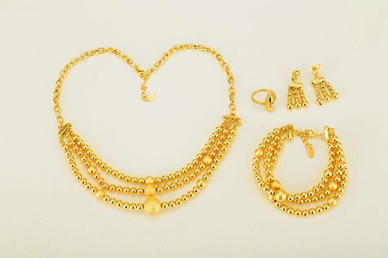 Good Stamp Bead Necklace Earrings Bracelet مجموعة مجوهرات الكرة للنساء لون ذهبي إفريقيا / العربية / الشرق الأوسط / إثيوبيا