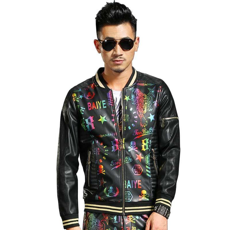 새로운 패션 PU 가죽 다채로운 인쇄 야구 재킷 남자 캐주얼 폭탄 재킷 코트 봄 가을 OUTWEAR 지퍼 카디건