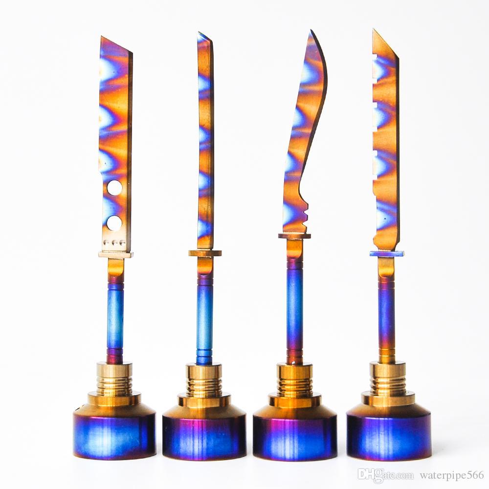 Eloxierte 14mm18mm 2IN1 GR2 Titan Carb Kappe mit Schwert an der Spitze und 1 abgewinkeltes Loch passen alle Schüssel bei 22mm für das Rauchen versandkostenfrei