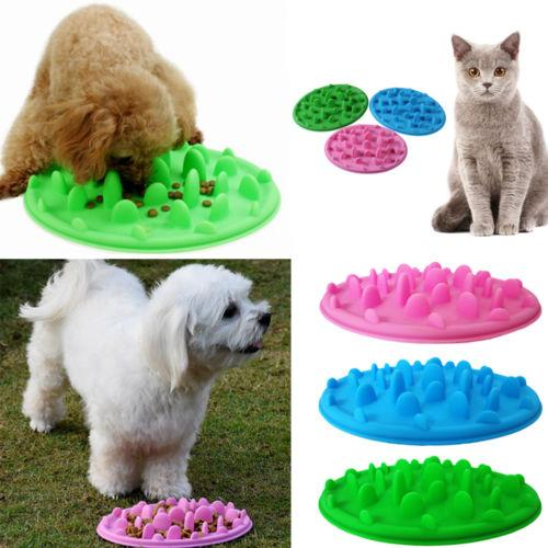 3 colores Pet Dog Puppy Silicone Slow Eating Bowl Anti Choking Alimentación Agua Dish Slow Eating Feeding Bowl Feeder AAA471