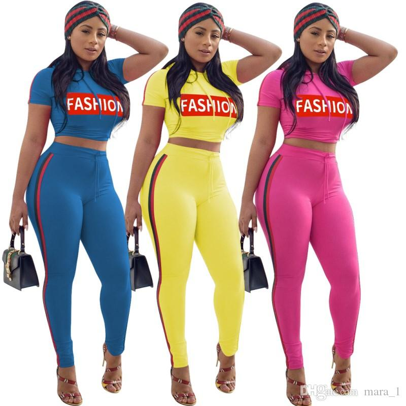 FASHION Letter Women Two Piece Outfits Print striped Crop Top Leggings Tracksuit Tee shirts track pants Sports Suits Jogger Sportswear