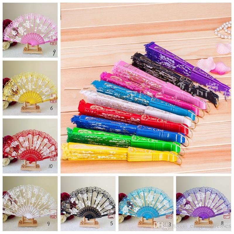 2021 Vintage 10 colores disponibles Manos Ventiladores Logotipo en Costillas de madera Mano de bambú de madera Rose Lace Fans Artes y manualidades Favores de boda Regalo barato