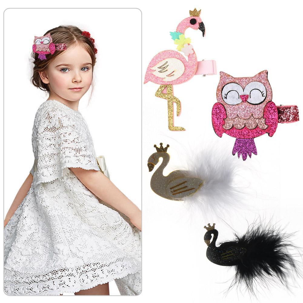 Headwear Fashion Cartoon Hairpins Flamingo Swan Owl Girls Barrettes Hair Clips