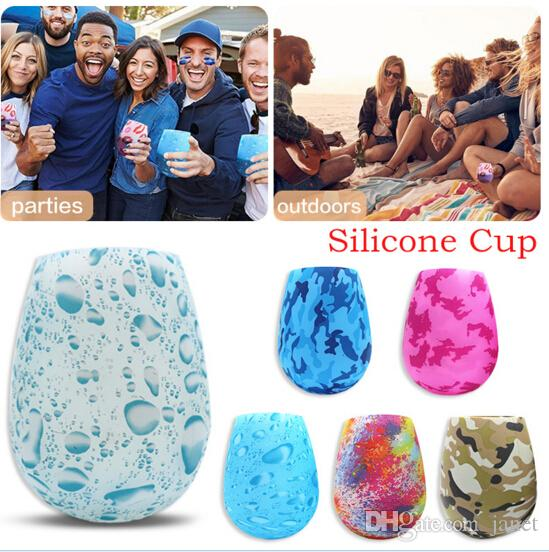 Hot Sale Silicone Wine Glasses Camouflage Lip Bohemia National Skull Bubble Water Bottle Outdoor Cups Beer Whiskey Glass Drinkware